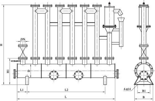 图五,水封高度>7000mmh2o防泄漏型卧式圆形煤气排水器外形图